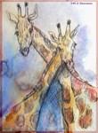 Giraffes, nature, art,