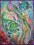 Sea Turtles! Colorful wildlife art!