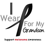 Melanoma I Wear Black Ribbon For Grandson Shirts