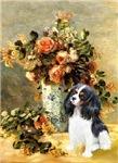 VASE OF FLOWERS<br>& Cavalier King Charles