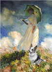 WOMAN WITH UMBRELLA<br>& Blue Merle Welsh Corgi