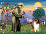 Saint Francis with a<br>Sable & White Collie