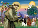 Saint Francis with<br>3 Cavalier King Charles