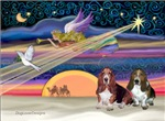 CHRISTMAS STAR<br>& Two Basset Hounds