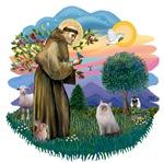 St. Francis (ff) with a<br>Ragdoll Cat (blue-cream