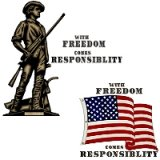With Freedom Responsibility tees & gifts