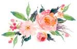 Pink Peach Watercolor Flower Bouquet