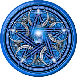 Blue Crescent Moon Pentacle