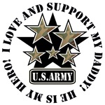 Dad or Daddy Kids Army Love Support Hero