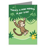 Monkey Birth Announcement Cards