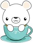 Kawaii Polar Bear in Teacup