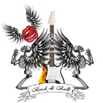 Rock N Roll Guitar Angel Skeletons