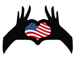 Hands Heart Symbol United States American Flag