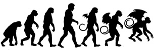 Evolution of the Flying Monkey.  Monkey to man to Winged Monkey is what evolution is all about.