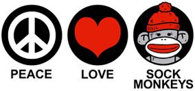 Peace Love Sock Monkeys t-shirt