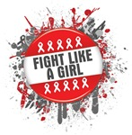 Fight Like a Girl Blood Cancer Splatter Shirts