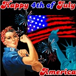 4th of July Rosie The Riveter Shirts and Gifts