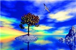 Tree in blue landscape