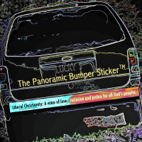Liberal Christianity Panoramic Bumper Sticker (TM)