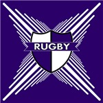 Rugby Shield Purple White Stripes