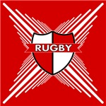 Rugby Shield Red White Stripes
