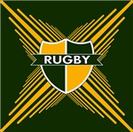 Rugby Crest Green Gold Stripes