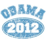 Obama 2012 Blue Faded Look Tshirt