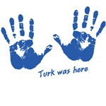 Turk was here - blue hand prints