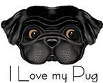 Black Pug  I Love my Pug