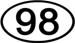 Number 98 Oval (Black)