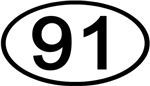 Number 91 Oval (Black)