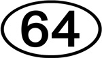 Number 64 Oval (Black)