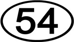 Number 54 Oval (Black)