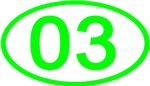 Number 03 Oval (Green)