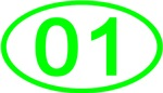 Number 01 Oval (Green)