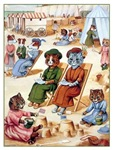 VINTAGE CAT ART: KITTY CATS AT THE BEACH