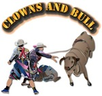 Clowns and Bull-2 with Text