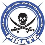 Dark Blue Pirate Skull and Swords