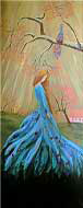Melancholy Peacock Girl Painting, Beautiful Gifts