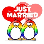 Just Married Rainbow Penguins