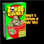 For Real Brain Food, it's the cereal that won't stay down, ZOMBIE CHUNKS! With a surprise in every box.  The cereal for all the cool Zombies.  Wonderful on a Zombie t-shirt or Zombie gift.
