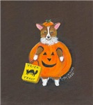 Trick or Treat! Pembroke Welsh Corgi in Pumpkin Ha