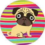 Pugs on Colorful Wavy Stripes
