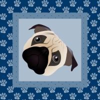 Pug Face - Blue Paw Border