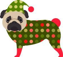 Christmas Pug in Pajamas