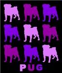 Purple Pugs on Black