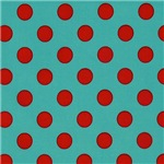 Bright Blue and Red Polka Dots