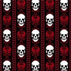 Baroque Skull Stripe Pattern Red