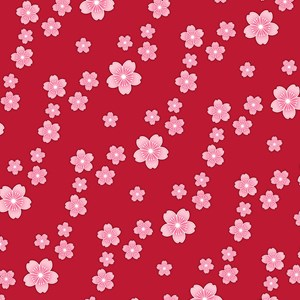 Red Cherry Blossom Pattern
