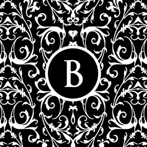 MONOGRAM Black & White Damask Pattern